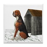 Dog (Hound Black N Tan) Tile Coaster