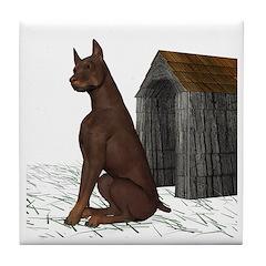 Dog (Red Doberman) Tile Coaster