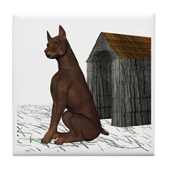 Dog (Red Doberman) Tile Coaster