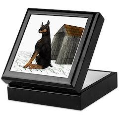Dog (Black Doberman) Keepsake Box