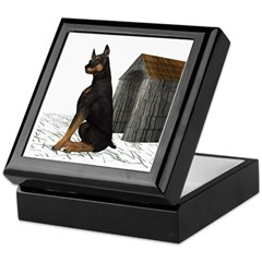 Dog (Black Doberman) Keepsake Box