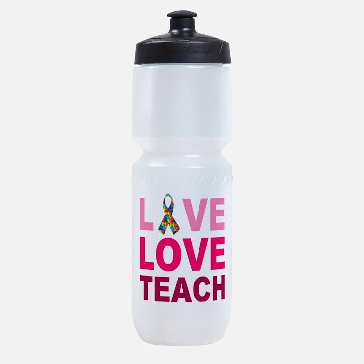 Live Love Teach Autism Sports Bottle