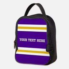 Purple and Gold Team Colors wit Neoprene Lunch Bag