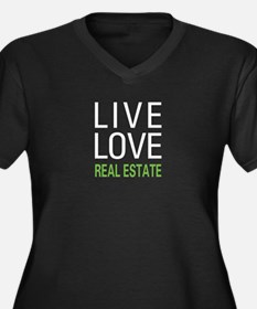 Live Love Real Estate Women's Plus Size V-Neck Dar