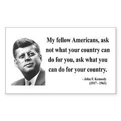 John F. Kennedy 5 Rectangle Decal