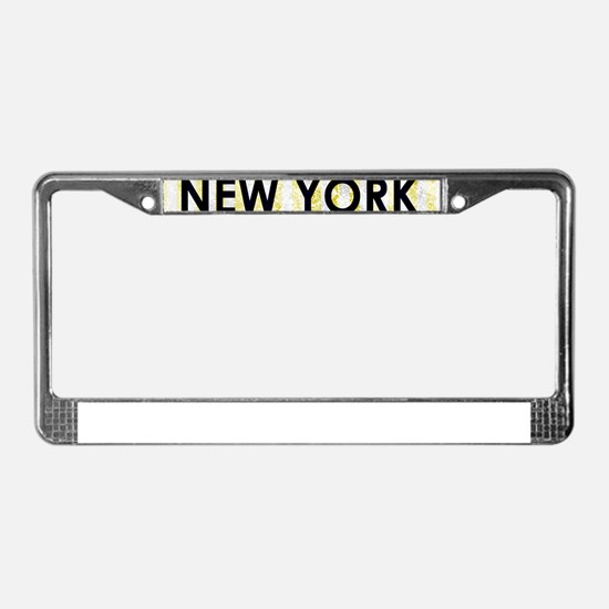 New York Yellow Pin Stripes License Plate Frame