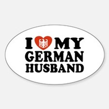 I Love My German Husband Oval Decal