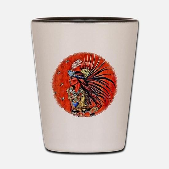 Aztec Bird Dancer Shot Glass