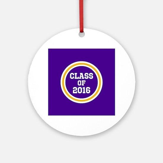 Senior Class 2016 Purple and Gold S Round Ornament