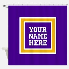 Purple and Gold Personalizable Team Shower Curtain