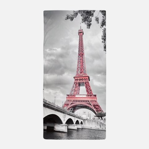 Pink Eiffel Tower Beach Towel