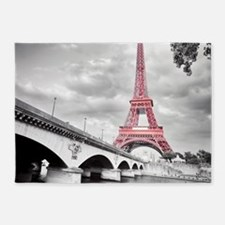 Pink Eiffel Tower 5'x7'Area Rug