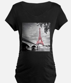 Pink Eiffel Tower Maternity T-Shirt