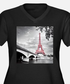 Pink Eiffel Tower Plus Size T-Shirt