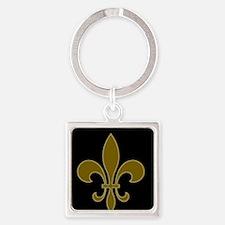 FLEUR DE LIS BLACK AND GOLD BLACKGROUND Keychains