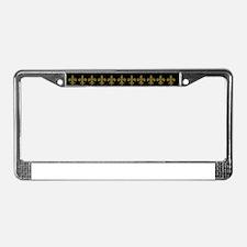FLEUR DE LIS BLACK AND GOLD BL License Plate Frame
