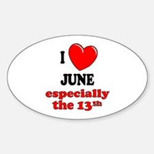 June 13th Oval Decal
