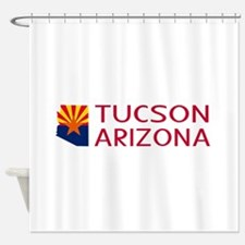 Arizona: Tucson (State Shape & Flag Shower Curtain