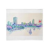 Boston skyline Fleece Blankets