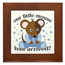 Baby Boy Arrived: Mouse Framed Tile