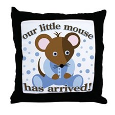 Baby Boy Arrived: Mouse Throw Pillow