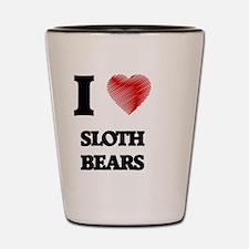 Cute I love sloths Shot Glass
