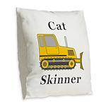 Cat Skinner Burlap Throw Pillow