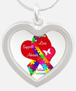 Autism Ribbon Silver Heart Necklace