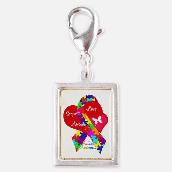 Autism Ribbon Silver Portrait Charm
