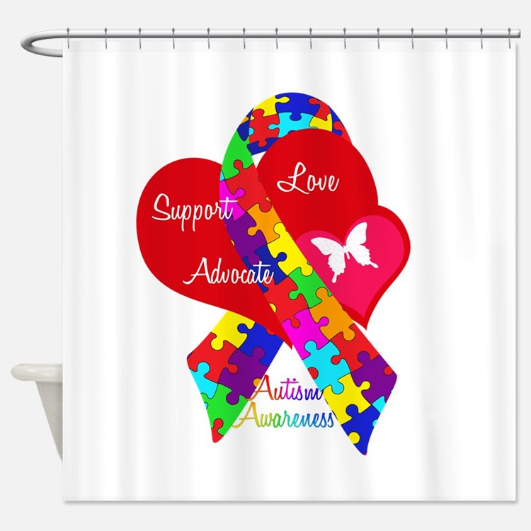 Autism Ribbon Shower Curtain