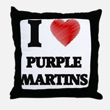 I love Purple Martins Throw Pillow