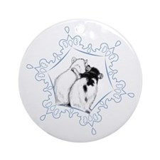 Rat Hug Snowflake Ornament (Round)