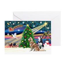 XmasMagic/2 Huskies Greeting Card