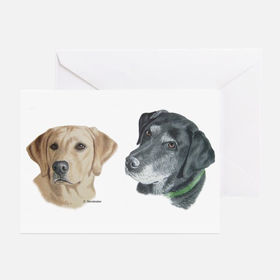 Black and Yellow Labs Greeting Cards (Pk of 10