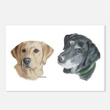 Black and Yellow Labs Postcards (Package of 8)