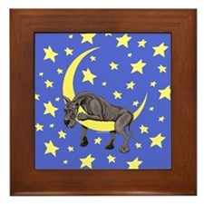 Great Dane Black Twinkle Framed Tile