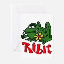 Frog with flower ribit Greeting Cards