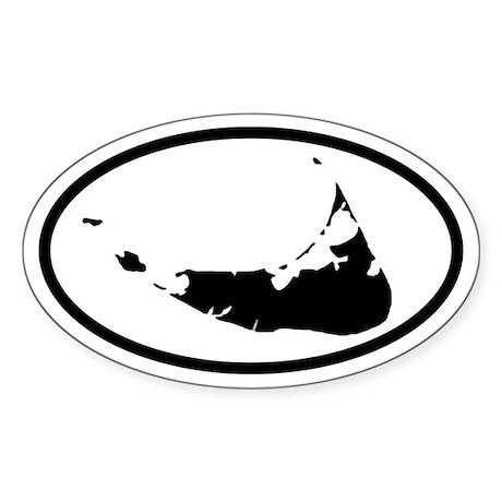 ACK Nantucket Map Oval Sticker