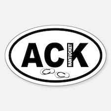 ACK Nantucket Flip Flops Oval Decal