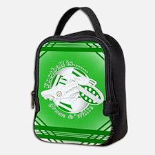 Green and White Football Soccer Neoprene Lunch Bag