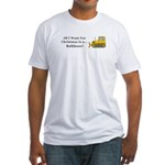 Christmas Bulldozer Fitted T-Shirt
