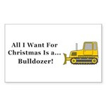 Christmas Bulldozer Sticker (Rectangle 50 pk)