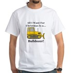 Christmas Bulldozer White T-Shirt