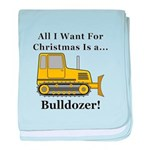 Christmas Bulldozer baby blanket