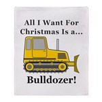 Christmas Bulldozer Throw Blanket
