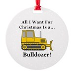 Christmas Bulldozer Round Ornament