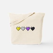 Non-Binary Pixel Hearts Tote Bag