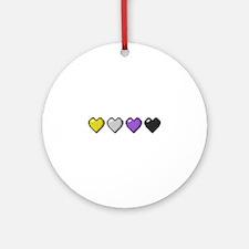 Non-Binary Pixel Hearts Round Ornament
