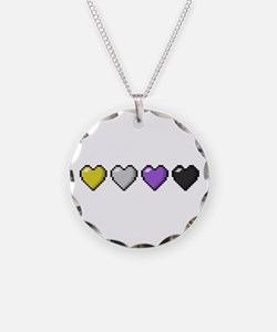 Non-Binary Pixel Hearts Necklace