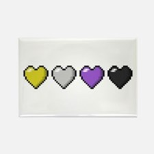 Non-Binary Pixel Hearts Rectangle Magnet